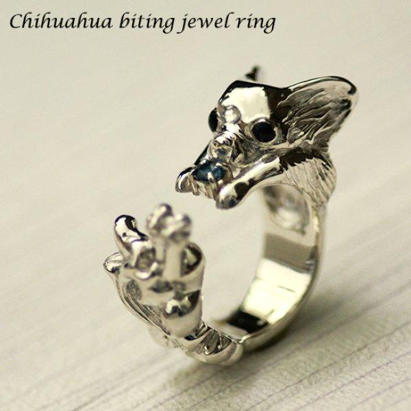 画像1: 噛み犬チワワリング【送料無料】両手で押さえた宝石をかじるチワワの指輪です (1)