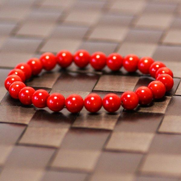 画像1: シーバンブーコーラル9mmブレス【日本国内送料無料】内径19センチくらいの真っ赤な竹珊瑚のブレスレットです (1)